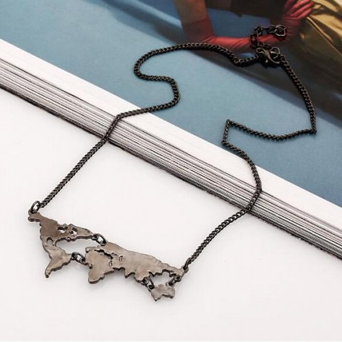World Map Necklace Gunmetal