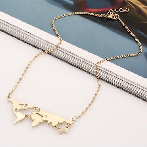 World Map Necklace Gold