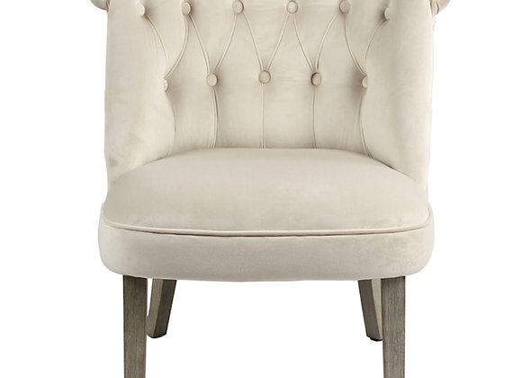 Curved White Accent Chair