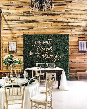 Hedge wall rental, Bride and Groom Table.jpg