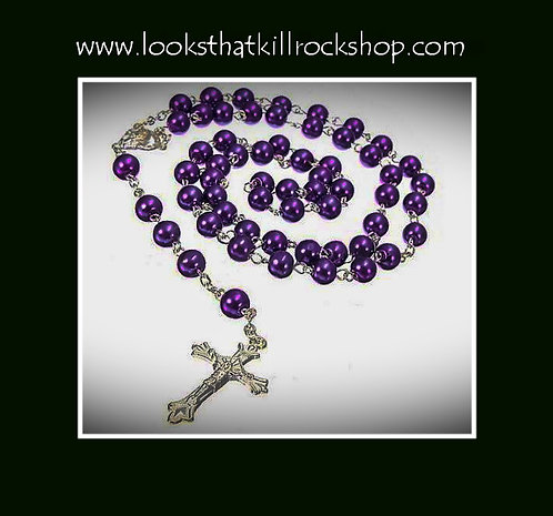 Nikki Sixx Style Rosary Necklace Collection in PURPLE~!