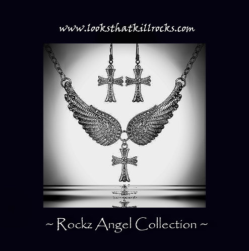 Rockz Angel Winged Cross Necklace Ear Ring Collection