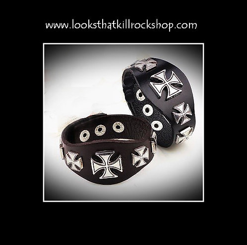 "~HOT~""Nikki Sixx"" Style Multi Celtic Cross Leather Band"