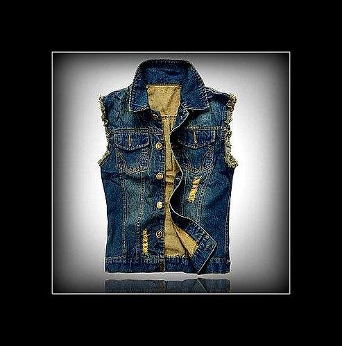Hot~! Retro Sleeveless Stressed Jean Jacket