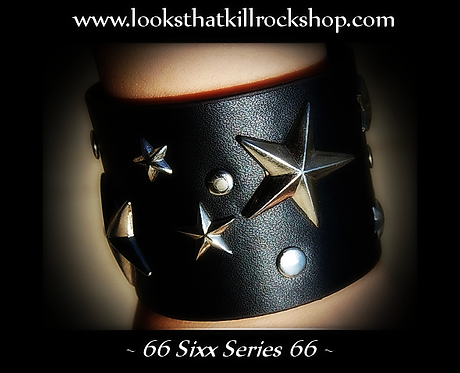 """New """"Sixx Series"""" Multi Star Wide Leather Band"""