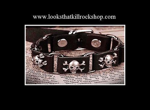Skull Crusher Multi Skull Leather Bracelet