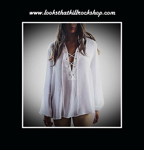 """Our """"Whitesnake"""" Laced Men or Women Stage Wear Top"""