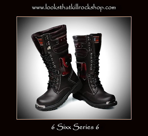 Nikki Sixx Style Motorcycle Boots with Iconic Combat Stage Knife