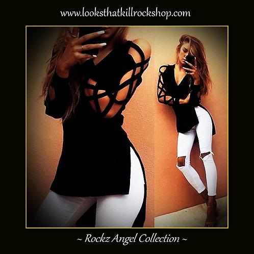 Rockz Angel Cross Cut Sleeves Ladies Top