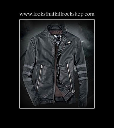 """Nikki Sixx"" Style Sports Leather Jacket"
