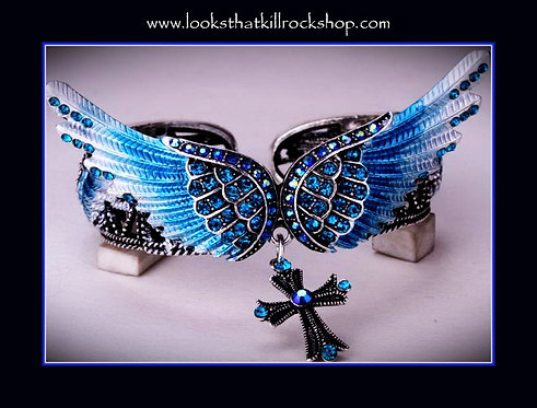 Gorgeous Shimmer Angel Wings Cross  Bracelet