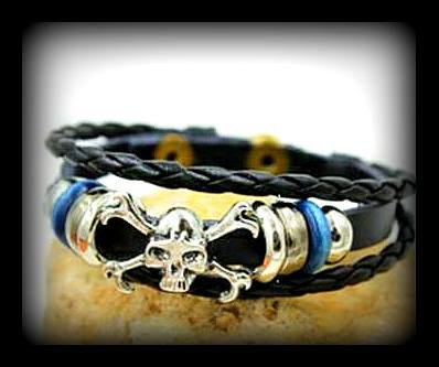 """Skull Crusher"" Series Dual Braided Skull Bracelet"