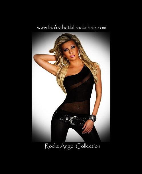 Rockz Angel Hot One-Shoulder Top Black SleevelessTop