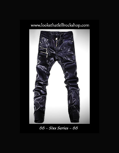 """""""Sixx Series"""" Biker Leather Stage Pants with zipper accents!"""