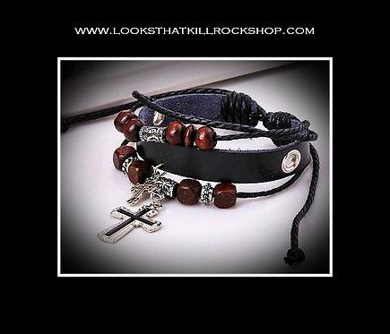 Ozzy Double Gothic Cross Leather Bracelet