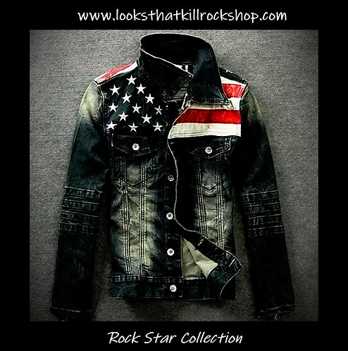 Red White and Crued Rock Star Jean Jacket