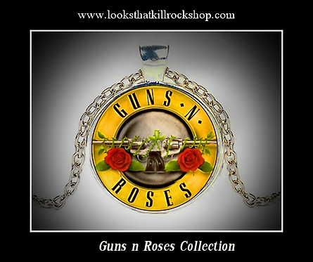 Classic Guns n Roses Logo on Glass Cabochon Necklace