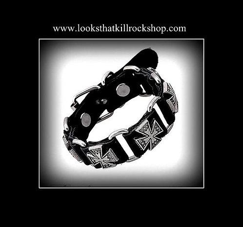 """Nikki Sixx"" Style Multi Celtic Cross Leather Band"