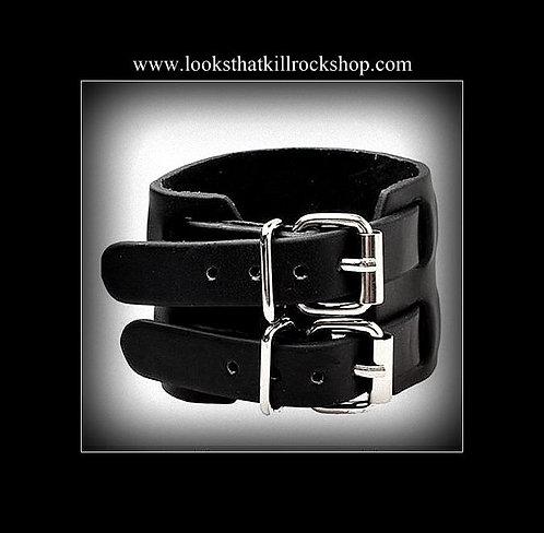 Nikki Sixx Style Double Buckle Leather  Bracelet