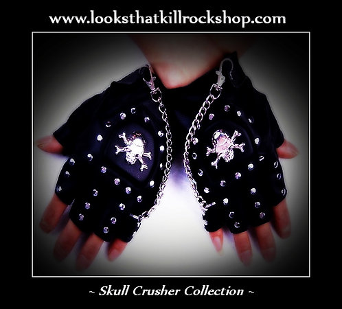 Skull Crusher Stage Gloves with Chain Accents!