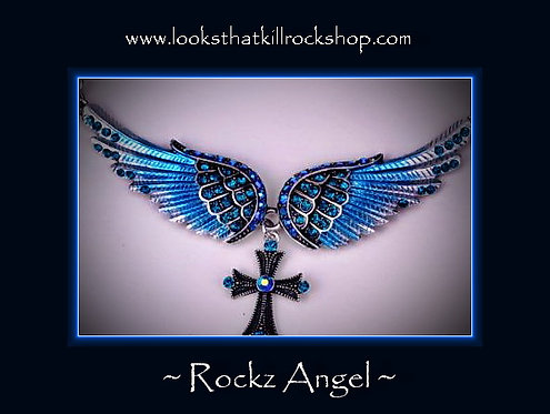 Gorgeous Shimmer Angel Wings Cross Necklace