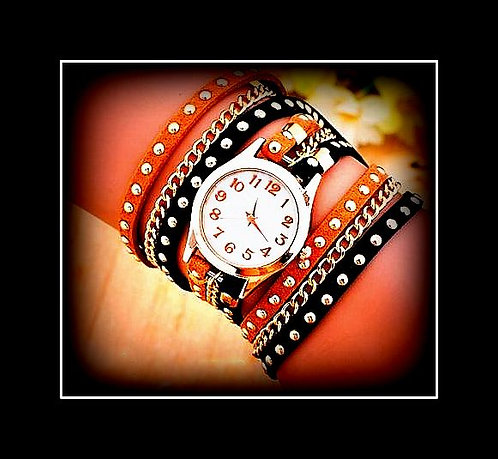 Womens Studs and Chains Rock Watch