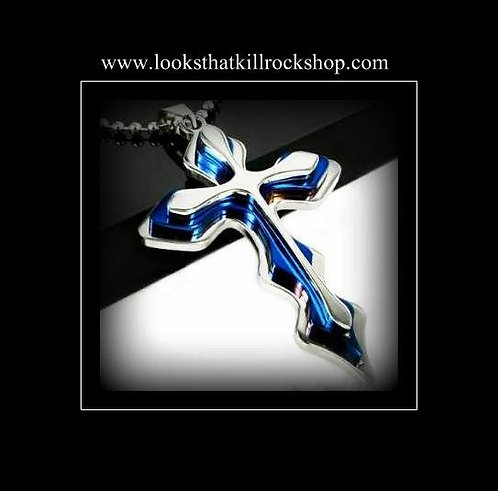 Blue Lighting Collection Ring and Cross