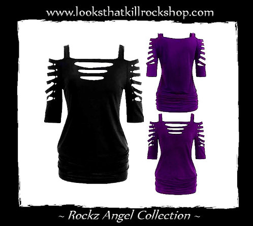 Rockz Angel Sexy Slashed Sleeve Stage Top or Mini Dress