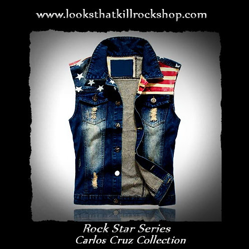 Red White and Crue Carlos Cruz Rock Star Collection Vest