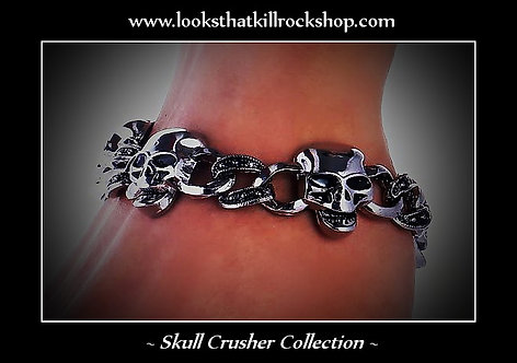Skull Crusher Bracelet with Diamond Cut Inlay Lines