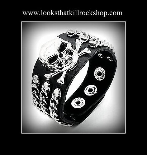 """Skull Crusher"" Series Leather Chained Bracelet"