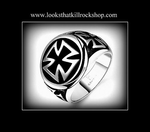 "Gorgeous ""Nikki Sixx"" Style Celtic Cross Ring"