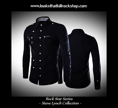 Hot Steve Lynch Rock Star Series Shirt with Strap and Zipper Accents