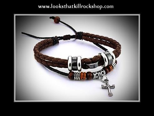 Stevez Rock Top Pick Silver Cross Slide Bracelet