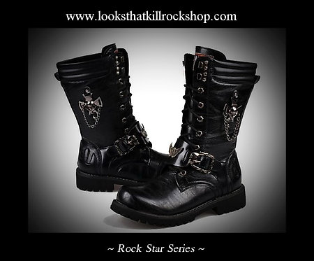 Rock Star Series Motorcycle Boots with Ravenscroft Icon with Chains
