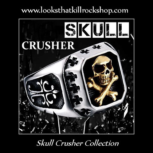 Skull Crusher Gold Skull n Crossbones on 316L Gun Metal