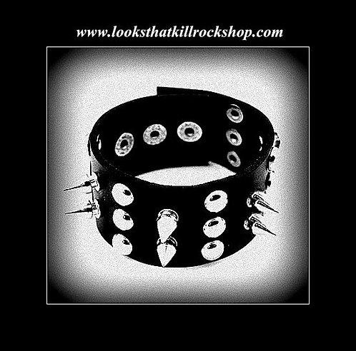 """Iron Maiden"" Style  DoubledSpike Studded Bracelet"