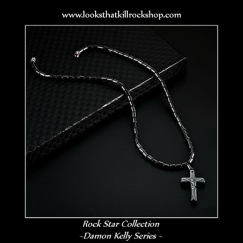 Polished Magnetic Black Stone Cross Necklace