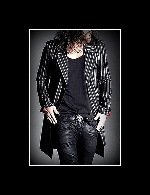 """Nikki Sixx"" Style Stripped Long Length Jacket"