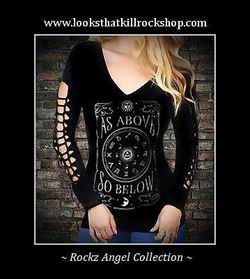 Sexy Rockz Angel Body Con Cross Laced Sleeve Top