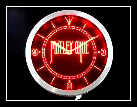 """Motley Crue""  Bar Wall Neon Clock (Red)"