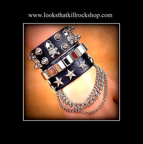 """""""Joan Jett"""" Style Skull Crusher Chained Bracelet"""