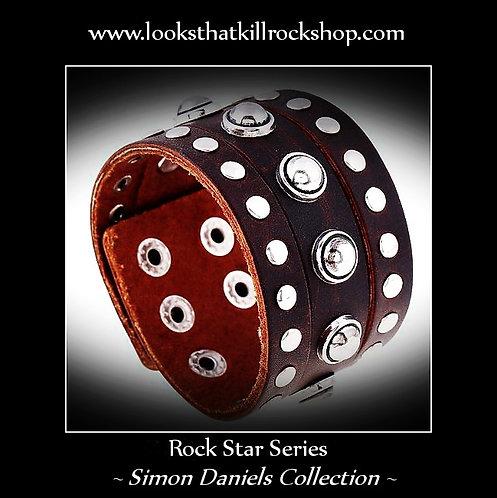 "Simon Daniels Rock Star Leather ""Sun Spot"" Studded Band"