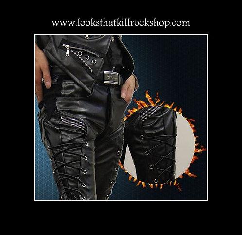 "Crue ""Vince Neil"" Style Laced Biker Pants"