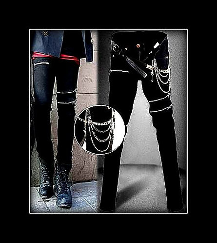 Nikki Sixx Style Zipper Slim Leg with Chains