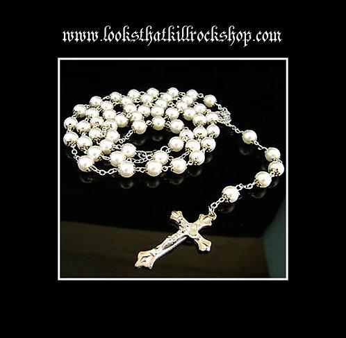 "HOTT~""Nikki Sixx"" Style Pearl Rosary Necklace"