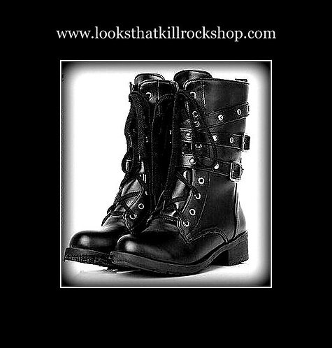 Womens Gothic Ankle Style Motorcycle Boots