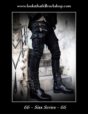 """Nikki Sixx"" Style Leather Knee Zipper Pant"