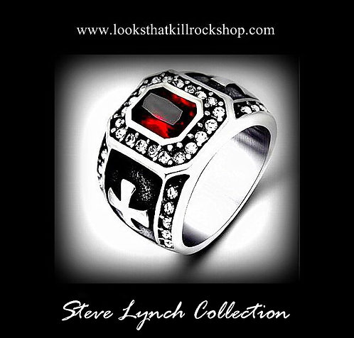 Steve Lynch Collection Ruby Red Skull Crusher Ring