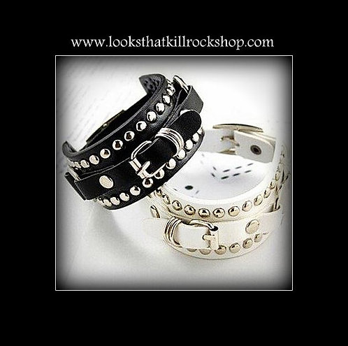 The Steeler Leather Steel Studs and Rings Bracelet
